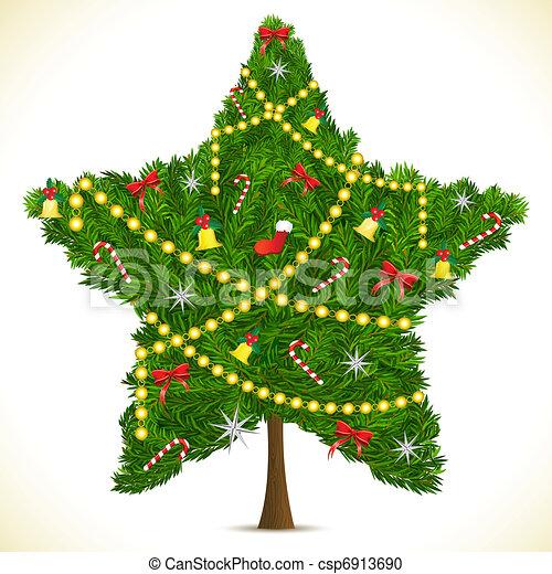 star shape christmas tree illustration of star shape christmas tree rh canstockphoto com star shaped objects clipart star shape clipart black and white