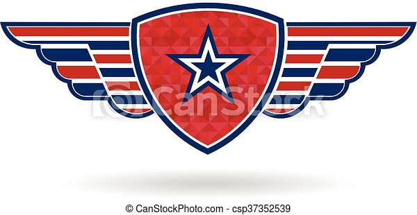 star shield with wings logo vector graphic design