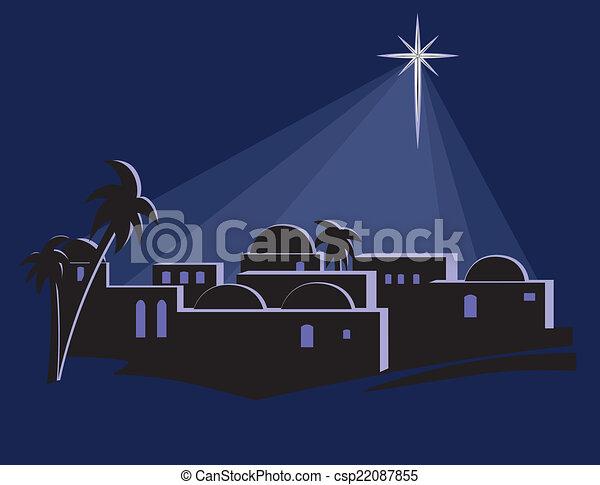 Star Shining Over Bethlehem - csp22087855