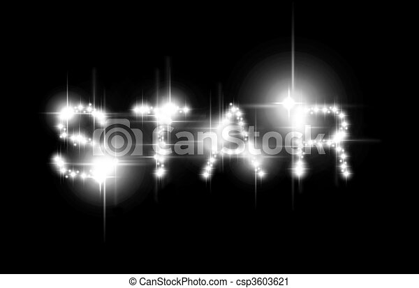 star spelled the word star spelled with shimmering stars