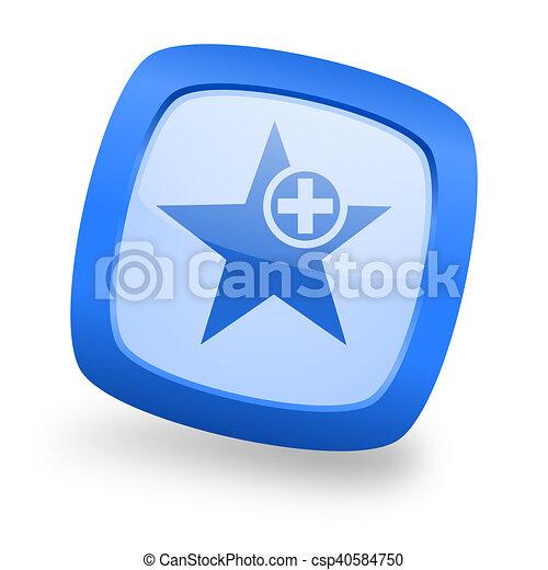 star square glossy blue web design icon - csp40584750