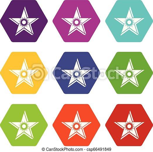 Star sun icons set 9 vector - csp66491849
