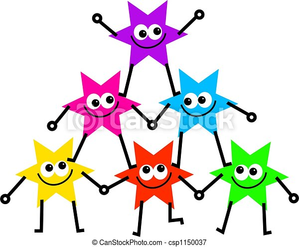 star support group of colourful cartoon stars forming a stock rh canstockphoto com clipart support team clipart support group