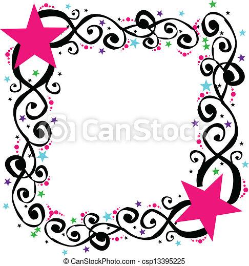 Star swirl frame border vector .