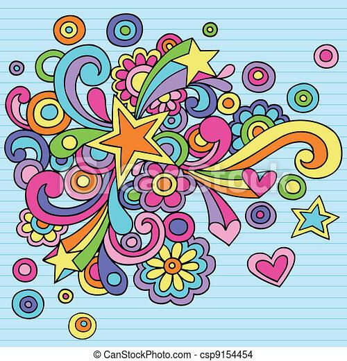 Star Swirls Groovy Doodles Vector - csp9154454