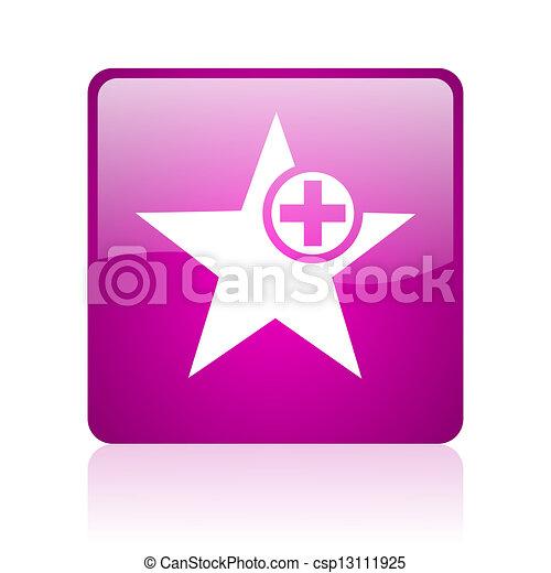 star violet square web glossy icon - csp13111925