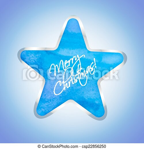 Star with Merry Christmas text - csp22856250
