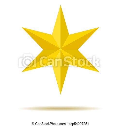 Star. Amarillo. Ornamentos. Seis puntos. Para tu diseño. - csp54207251