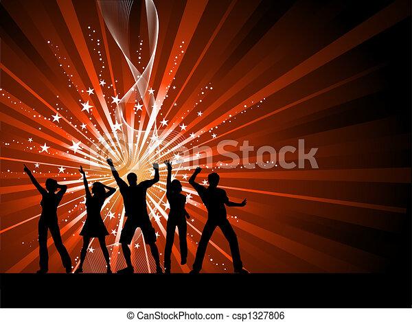 starburst, pessoas, fundo, dançar - csp1327806