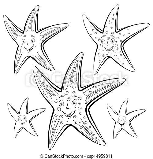starfish cartoon drawing style black on white