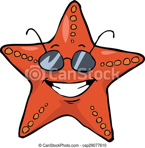 cartoon starfish in sunglasses smiling vector illustration vector rh canstockphoto com starfish clip art pictures starfish clip art free