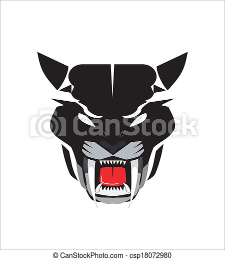 staring black panther head icon suitable for team identity rh canstockphoto com Panther Pride Clip Art black panther head clip art