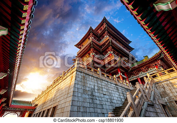 starożytny, architektura, chińczyk - csp18801930