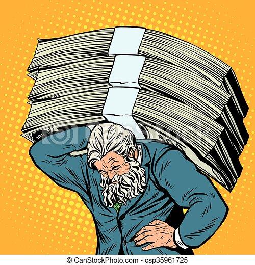 starożytny, ciężki, ciężar, pieniądze, atlas, biznesmen, silny człowiek - csp35961725
