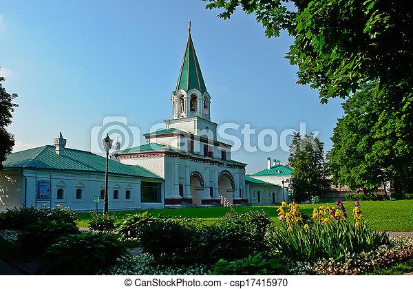 starożytny, kolomenskoye., miejsce zamieszkania, królewski, frontowa brama - csp17415970