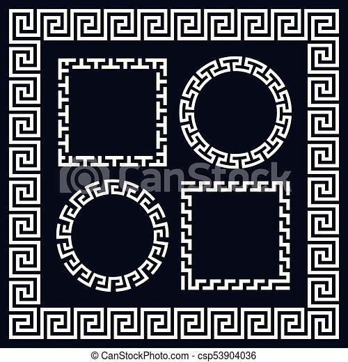 starożytny, prostokątny, grek, układa, brzeg, okrągły - csp53904036