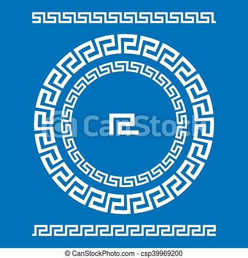 starożytny, starożytny, rozeta, elements., ułożyć, pulse., krajowy, ozdoba, próbka, prostokątny, grek, meander., vector., koło, brzeg, okrągły - csp39969200