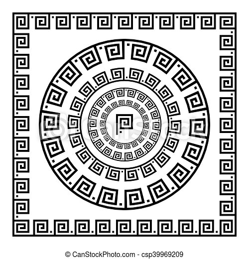 starożytny, starożytny, rozeta, elements., ułożyć, pulse., krajowy, ornament., ozdoba, próbka, prostokątny, grek, meander., vector., koło, brzeg, okrągły - csp39969209
