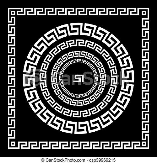 starożytny, starożytny, rozeta, elements., ułożyć, pulse., krajowy, ornament., ozdoba, próbka, prostokątny, grek, meander., vector., koło, brzeg, okrągły - csp39969215