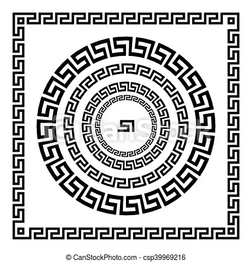 starożytny, starożytny, rozeta, elements., ułożyć, pulse., krajowy, ornament., ozdoba, próbka, prostokątny, grek, meander., vector., koło, brzeg, okrągły - csp39969216
