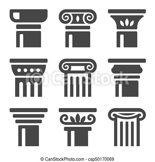 starobylý, set., vektor, sloupec, ikona - csp50170069