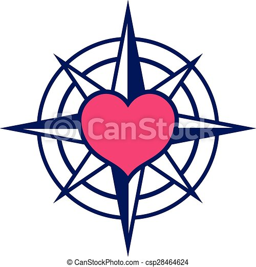 starred compass with heart icon navy colored starred vector rh canstockphoto com clip art compass directions clipart compass rose