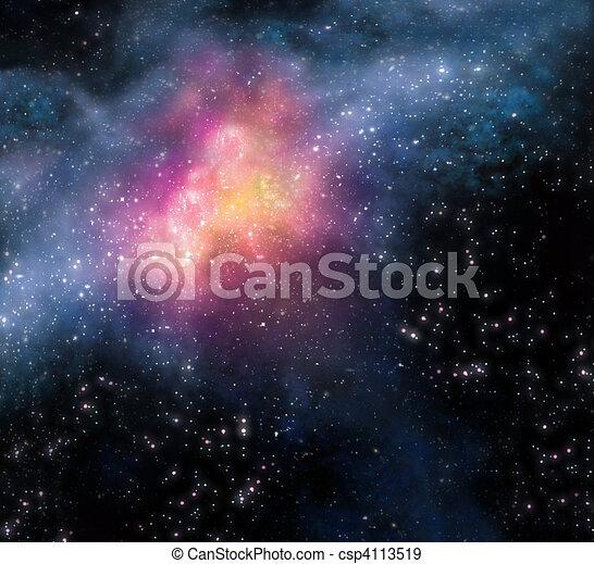starry, äußer, hintergrund, tief, raum - csp4113519
