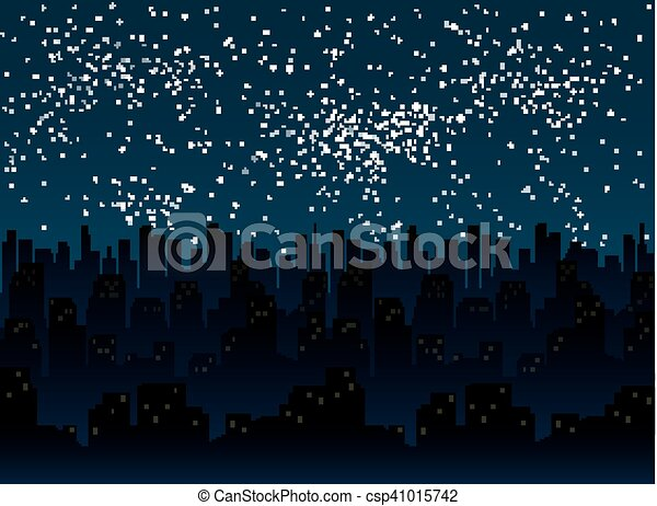 Starry night sky  Silhouette of the city  Eps 10