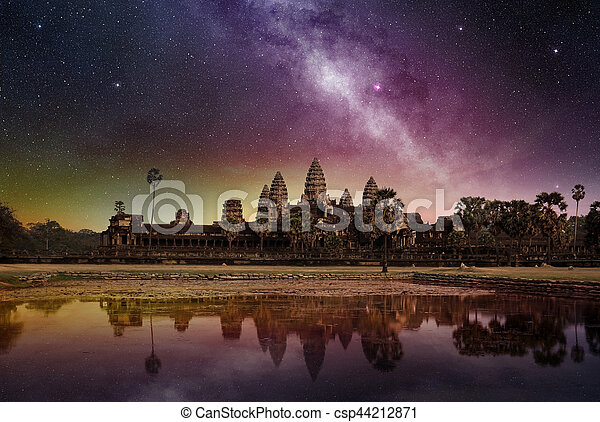 starry sky above the angkor wat temple - csp44212871
