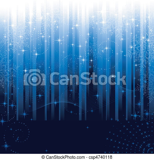Stars and snowflakes on blue striped background. Festive pattern great for winter or christmas themes. - csp4740118