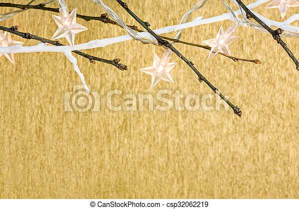 stars christmas lights on golden background - csp32062219