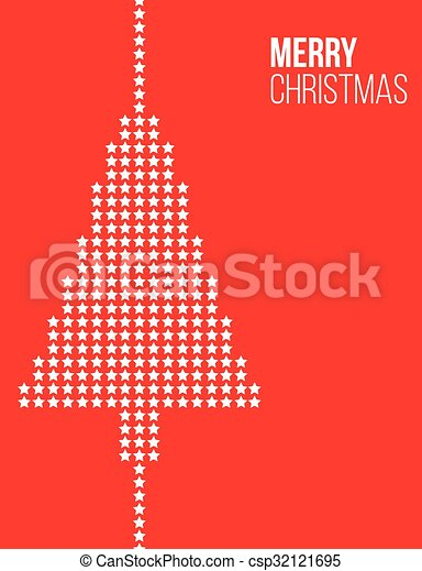 Stars Christmas tree red poster - csp32121695