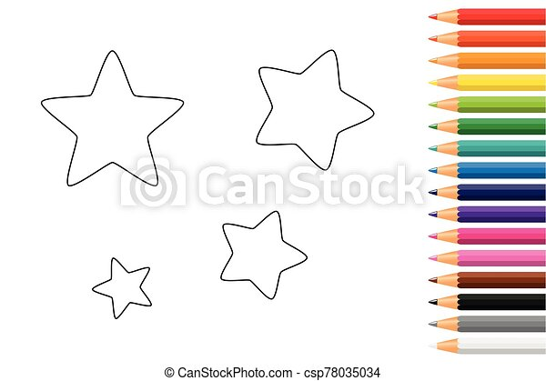 - Stars Coloring Book With Pencils Vector Illustration Eps10.