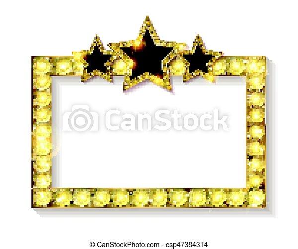 Stars., marco, cine. Folleto, cine, marco, ilustración, invitación ...