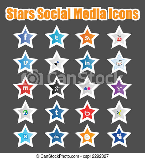 Stars Social Media Icons 1 - csp12292327