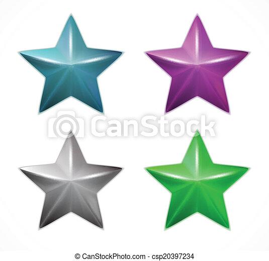 Establece estrellas coloridas. Vector - csp20397234