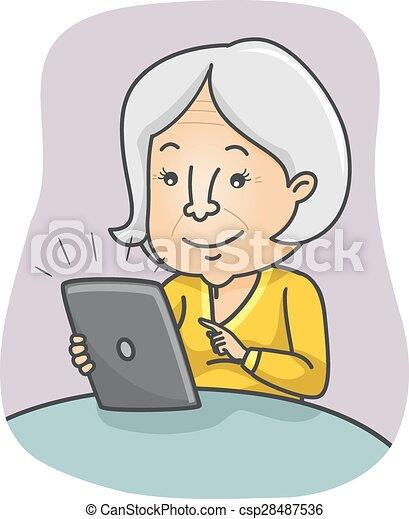 starsza kobieta, tabliczka - csp28487536