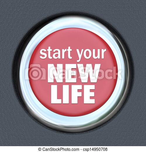 Start a New Life Red Button Press Reset Beginning - csp14950708