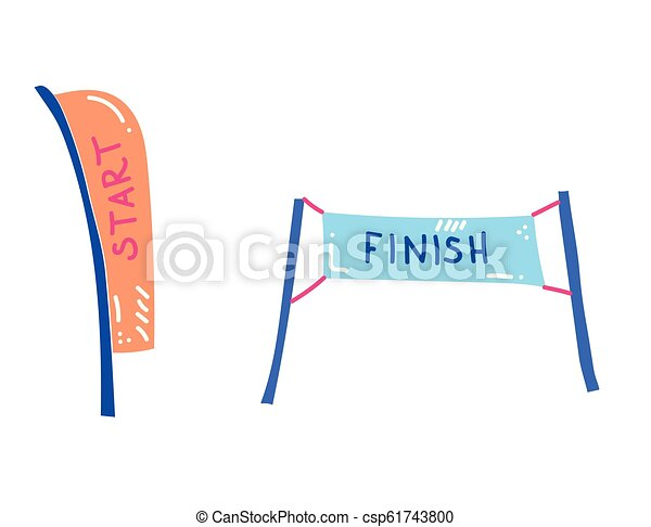 Vector Illustration Of Start And Finish Banners Sport Flag Start And Finish Banner Checkered For Competition Race