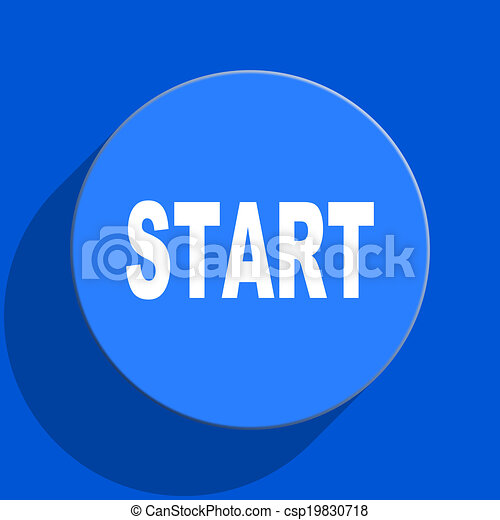 start blue web flat icon - csp19830718