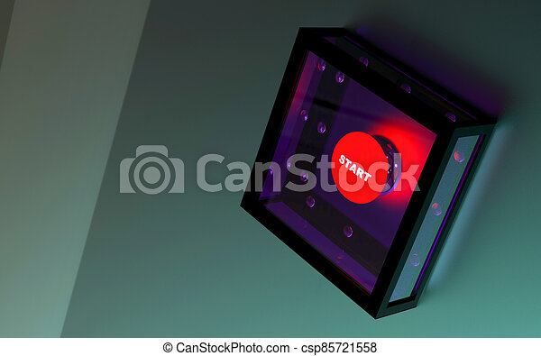 Start button in armored box - csp85721558