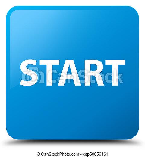 Start cyan blue square button - csp50056161