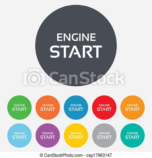 Start engine sign icon. Power button. - csp17963147