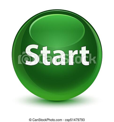 Start glassy soft green round button - csp51479793