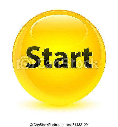 Start glassy yellow round button - csp51482129