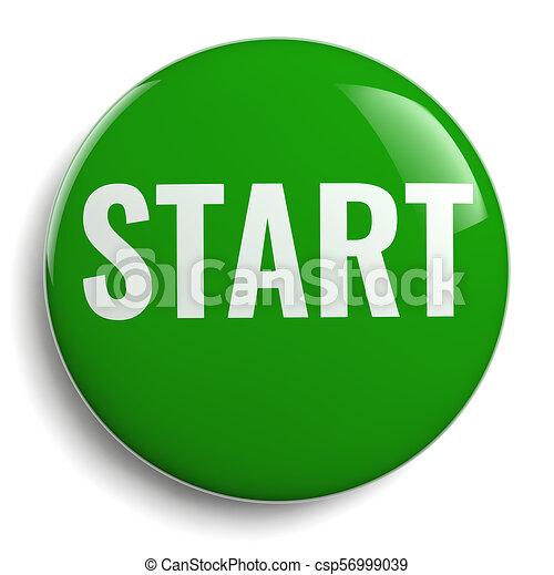 Start Green Button Round Icon - csp56999039