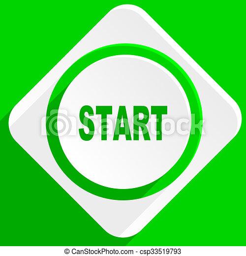 start green flat icon - csp33519793