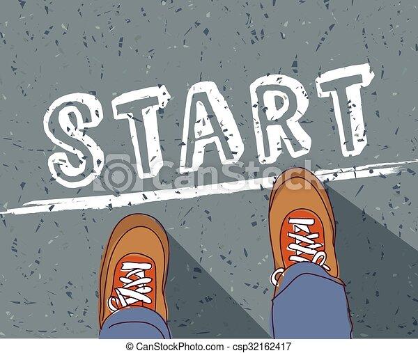 Start line young man begin way - csp32162417