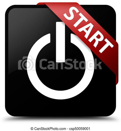 Start (power icon) black square button red ribbon in corner - csp50059001