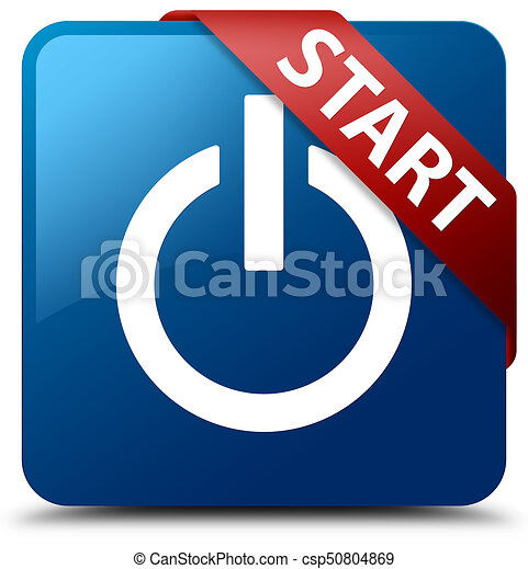 Start (power icon) blue square button red ribbon in corner - csp50804869